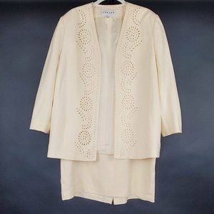 Jaeger Womens 2pc Skirt Suit Ivory Long Sleeve